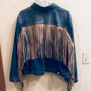 Cute Chico's Cowgirl Fringe Denim Jacket EUC!